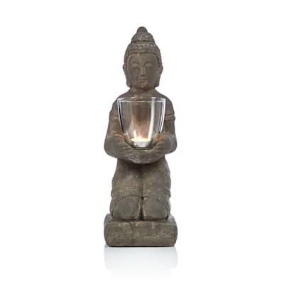 IMPRESSIONEN living Buddha, mit Windlichtglas, Asia-Style, Beton, Glas