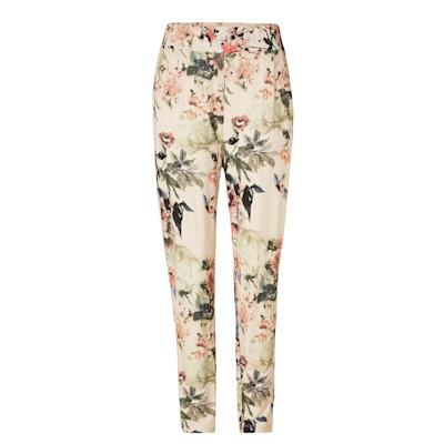 Cream Hose, Print, Blumen, Comfort Fit, leger