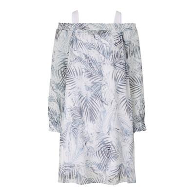 BOSS Orange Kleid, Palmenprint, leicht transparent, Off-Shoulder, oversized, leger
