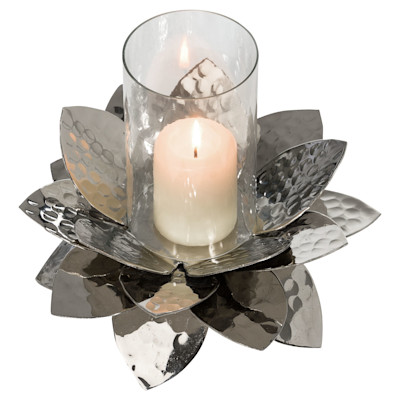 miaVILLA Windlicht Lotus, gehämmert, edel