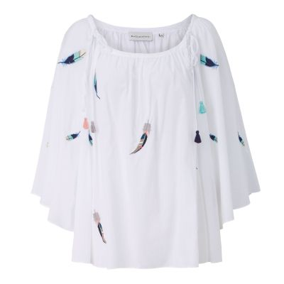 delicate love Tunikabluse, transparent, Stickerei, drapierte Falten, oversized