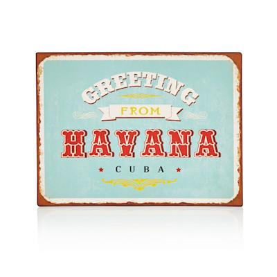 "IMPRESSIONEN living ""Metallschild 35 x 26 cm, """"Greetings from Havanna Cuba"""", Rostfinish, Shabby Chic"""