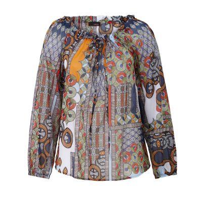CINQUE Bluse, Allover-Print, Zugkordel, Raffung, oversized