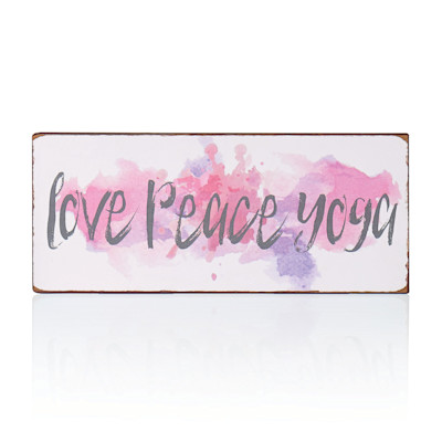 "IMPRESSIONEN living ""Schild """"Love Peace Yoga"""", Rostfinish, Mottoprint , modern, Eisen"""