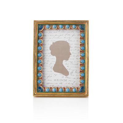 IMPRESSIONEN living Bilderrahmen 10 x 15 cm, Handarbeit, Samtrückwand, Aufsteller, Vintage-Look, Kunststein