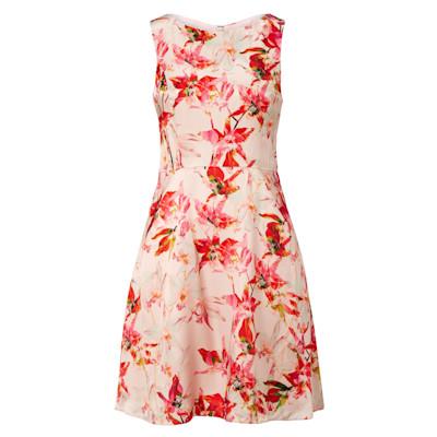 BOSS Orange Kleid, Blumen, ärmellos, ausgestellt, Seide