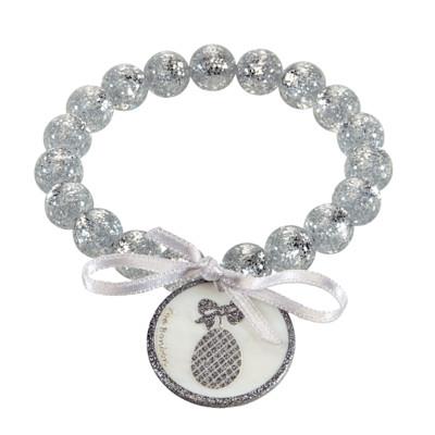 Zoé Bonbon Armband, Handarbeit, gravierter Anhänger, Schleife, elastisch