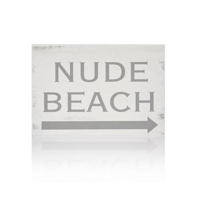 """IMPRESSIONEN living """"Schild """"""""Nude Beach"""""""", schwarzer Schriftzug , modern, MDF"""""""