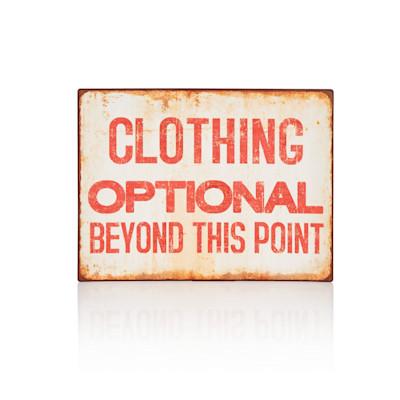 "IMPRESSIONEN living ""Schild """"Clothing Optional.."""", Wording, Rostoptik, Vintage-Look, Metall"""