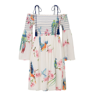Derhy Kleid, Krepp-Optik, Quasten, Off-Shoulder, Comfort Fit, Romantik-Look