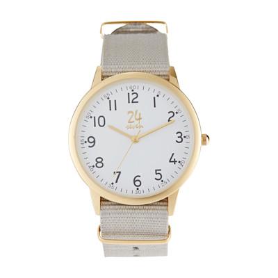 24seven Armbanduhr, Drei-Zeiger-Uhr, Ripsband, Quarzuhrwerk, Mineralglas