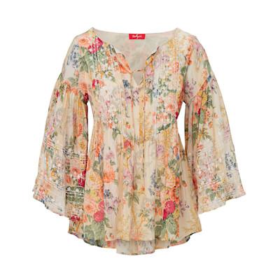 Derhy Bluse, Trompetenärmel, Blumen-Print, ausgestellt, Romantik-Look