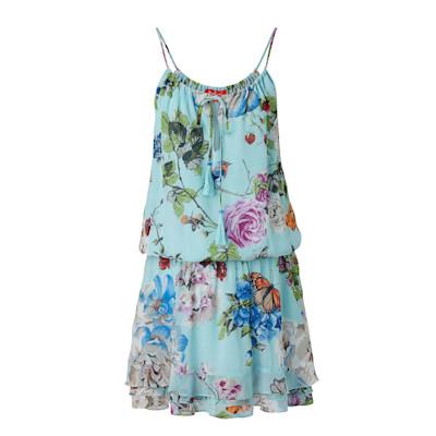Derhy Kleid, Allover-Print, Volants, leger geschnitten, Romantik-Look