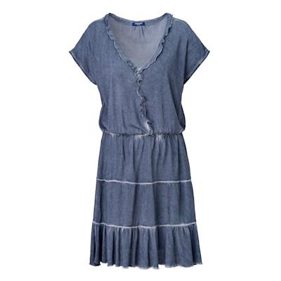 CONLEYS BLUE Jerseykleid, Rüschen, Volant, leicht tailliert, leger