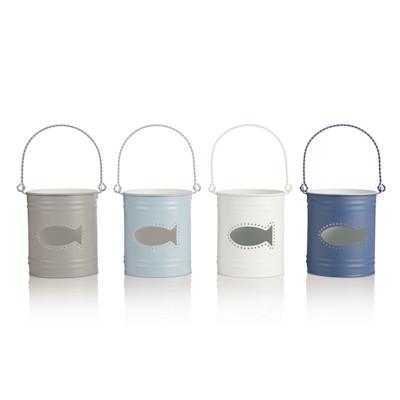 Windlicht- Set, 4-tlg., transparentes Fischmotiv, Maritimer Look, Metall