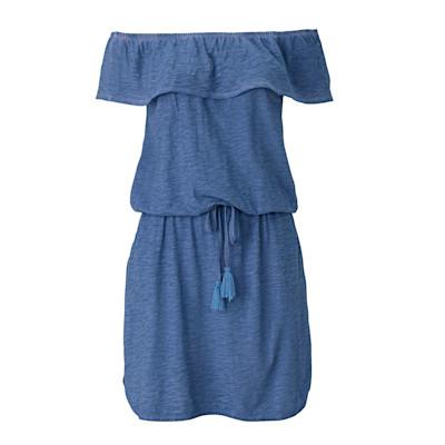 CONLEYS BLUE Kleid, Carmen-Ausschnitt, Casual