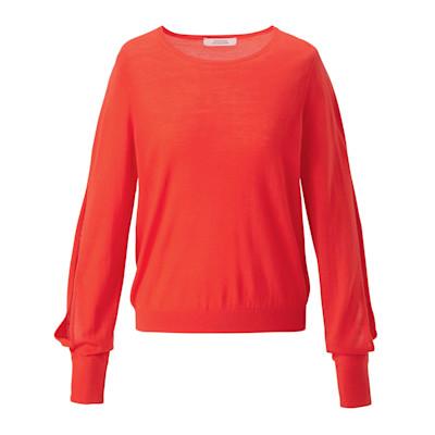 DOROTHEE SCHUMACHER Pullover, Merinowolle, Feinstrickqualität, Cut-outs, gerade geschnitten, elegant