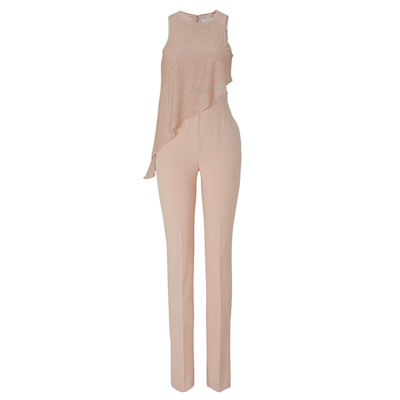 Elisabetta Franchi Overall, Perlen, 2-in-1, Cut-out, edel