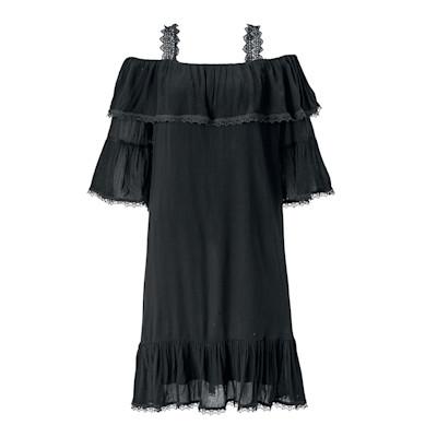 CONLEYS BLUE Kleid, Spitze, Carmen-Ausschnitt, Volants