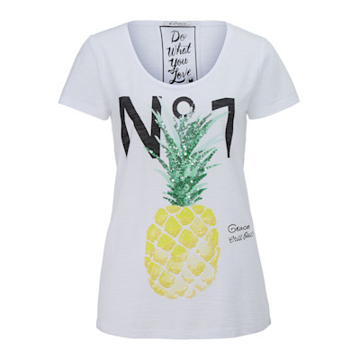 Grace T-Shirt, Ananasprint, Pailletten, gerade geschnitten