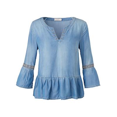 Cream Jeans-Blusenshirt, Schößchen, Trompetenärmel, Boho-Style