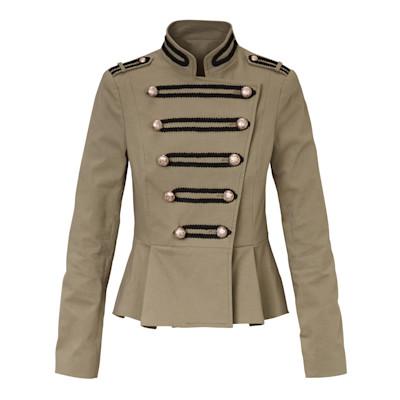 Brandalism Blazer, Schulterriegel, schwarze Tressen, Volant, leicht tailliert, Army-Look