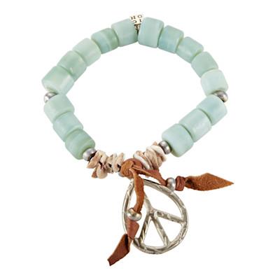 Armband, Symbolanhänger, Muschelplättchen, Metallperlen, Lederband, Hippie-Look