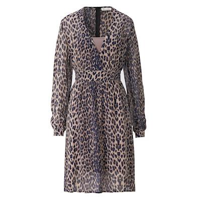 Brandalism Kleid, Leomuster, leicht transparent, Wickeloptik