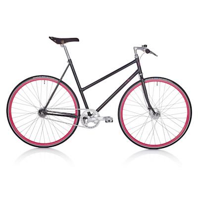 BRAVE CLASSICS Fahrrad Singlespeed, made in Germany, 57 cm Damen-Sport-Rahmen, 28 Zoll, Softtouch-Sattel/-Griffe, modern, Metall, Leder