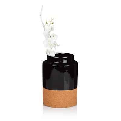 Vase, 2 Farbversionen, Clean chic, glänzende Keramik, Kork