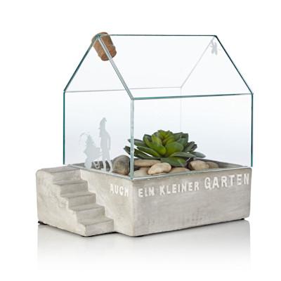 """räder """"Gewächshaus, Schriftzug """"""""Noch ein kleiner Garten"""""""", Glas, Beton, Mini-Format"""""""