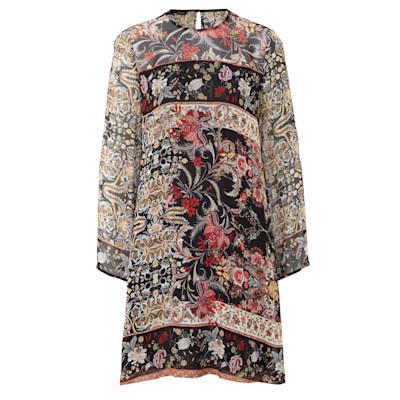 CINQUE Kleid, Blumenmuster, Transparenz, Unterkleid, leicht ausgestellt, Romantik-Look, Viskose