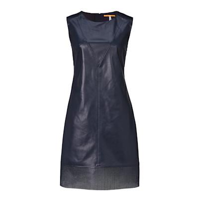 BOSS Orange Kleid, Leder-Optik, leicht tailliert, elegant
