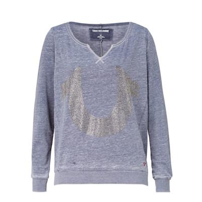 Sweatshirt, Logostickerei, gerade geschnitten, Used-Look
