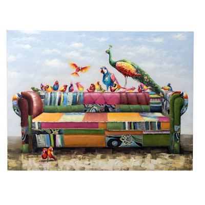 miaVILLA Bild Buntes Sofa, Holz, Leinwand, Acryl