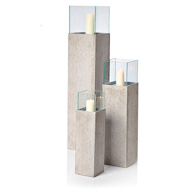 IMPRESSIONEN living Windlichtsäule mit Glas, Beton-Optik, Fiberglas, Zement