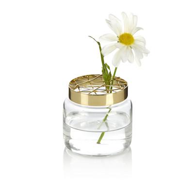 Vase, Gitterdeckel, Glas, Metall, in 3 Größen