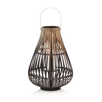 IB LAURSEN Laterne, Henkel, Glaseinsatz, Streben-Look, Asia-Style, Holz