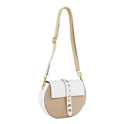 COCCINELLE Schultertasche, Materialmix, Ethno-Look