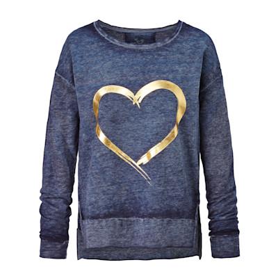 gwynedds Jerseyshirt, Herzprint, Gold-Optik, leger geschnitten