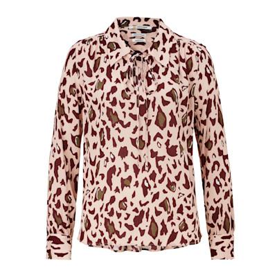 Bluse, Animalprint, gerade geschnitten