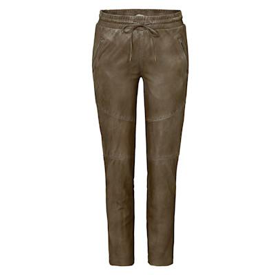 Brandalism Lederhose, elastischer Bund, schmales Bein, Used-Look