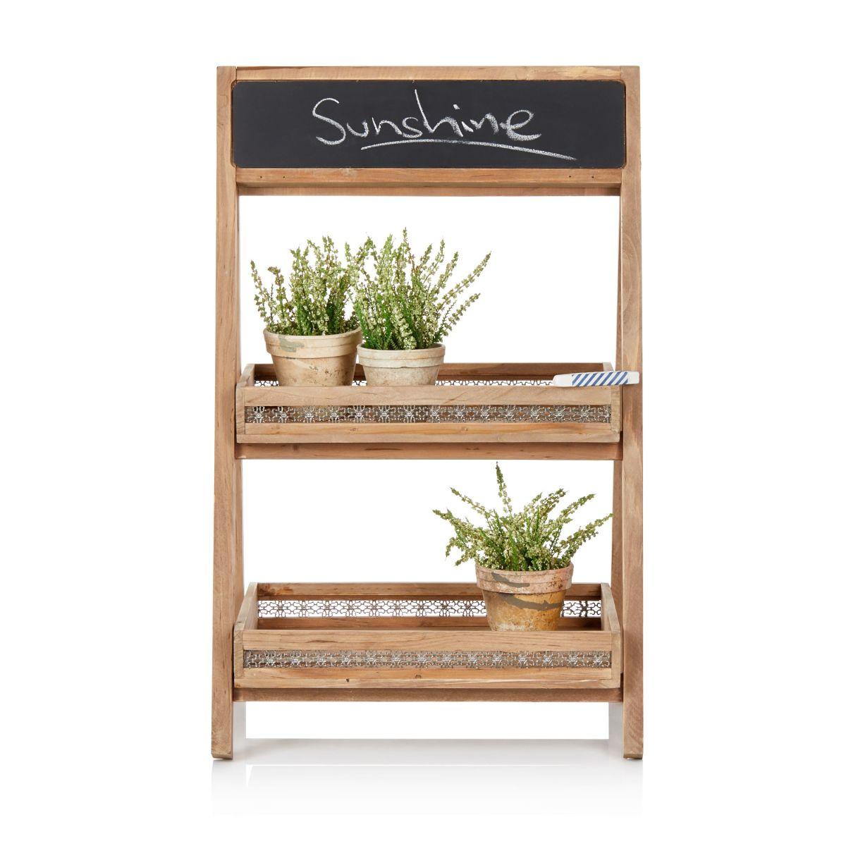 Tablettregal mit Tafelfläche und zwei Ablageflächen