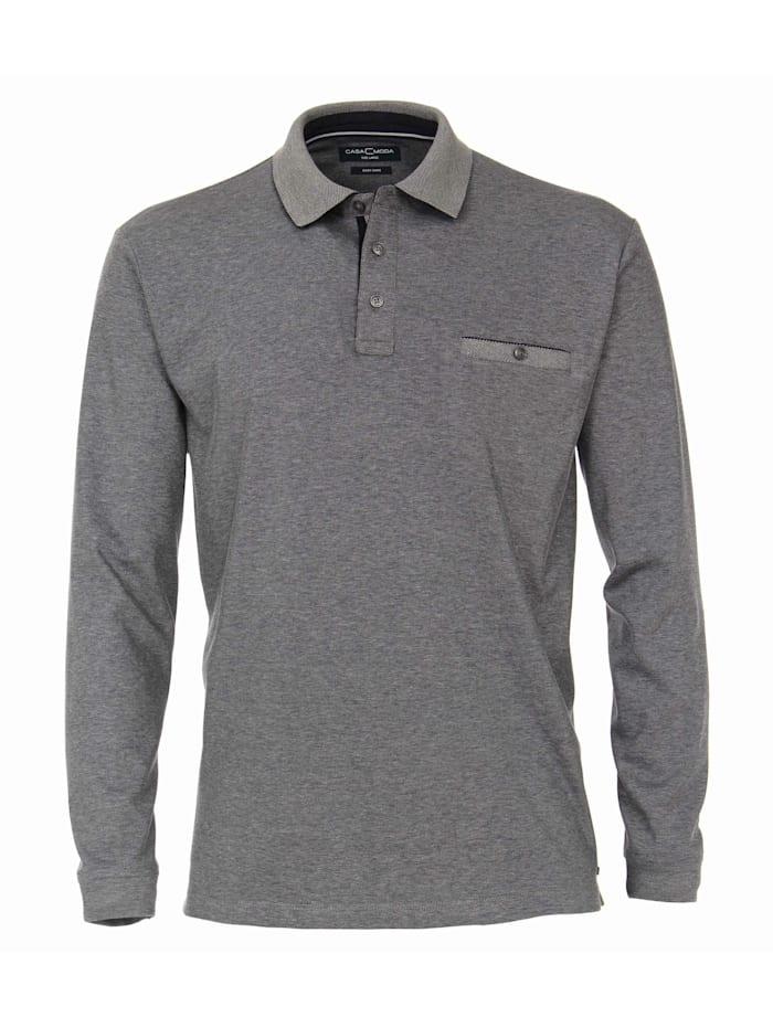 casamoda - Polo-Shirt Langarm gestreift  graues Mittelblau