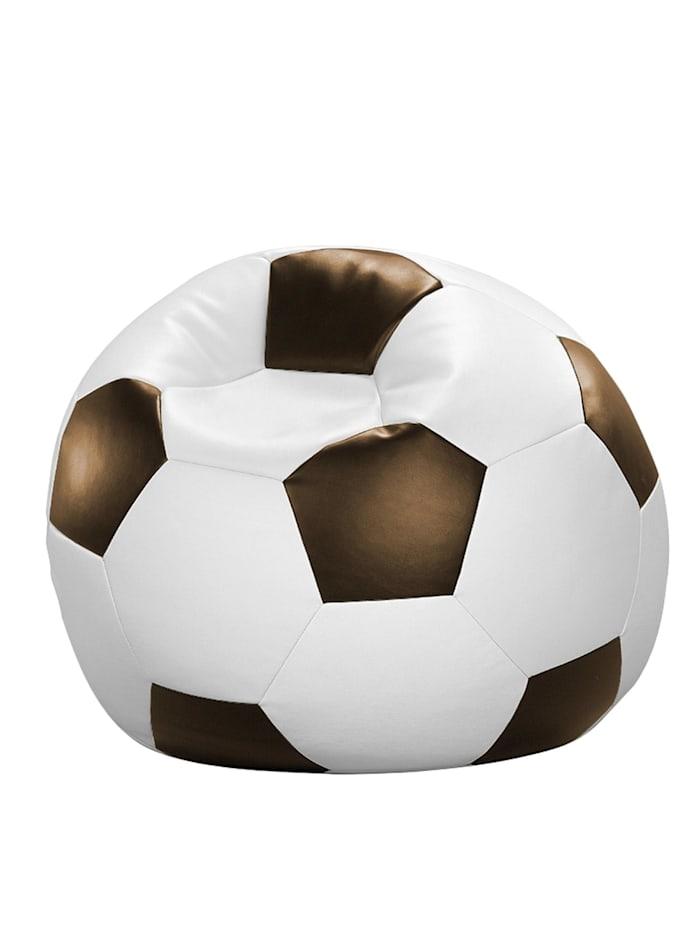 Fussball Sitzsack Sitzkissen Chillkissen Kunstleder Ø 90 cm Linke Licardo weiß/braun
