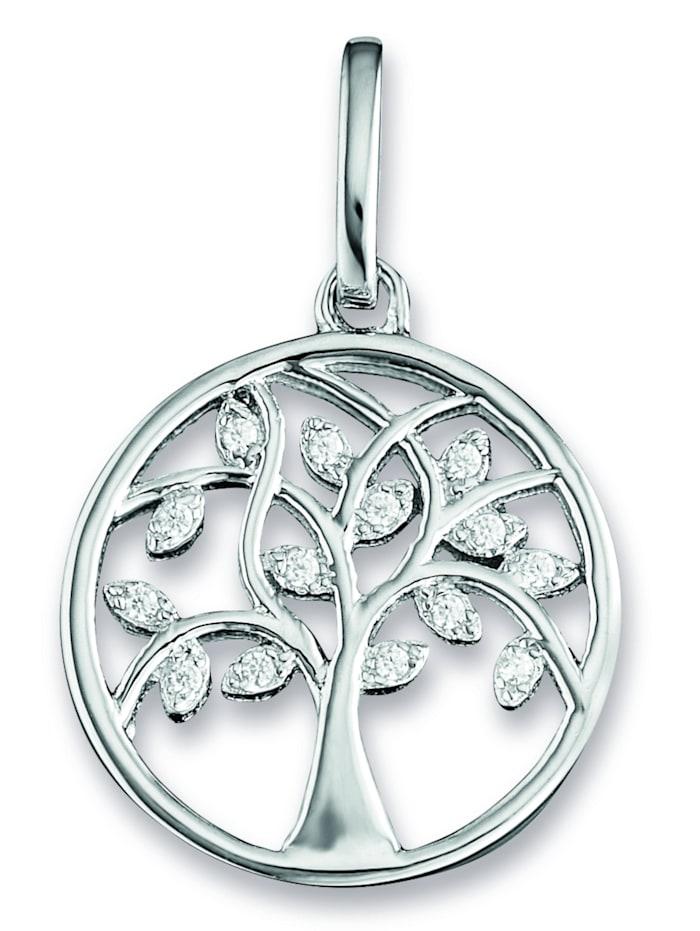 one element - Damen Schmuck Anhänger Lebensbaum aus 925 Silber Zirkonia  silber