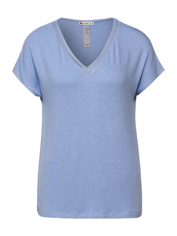 street one - T-Shirt mit Strick Detail  mid sunny blue
