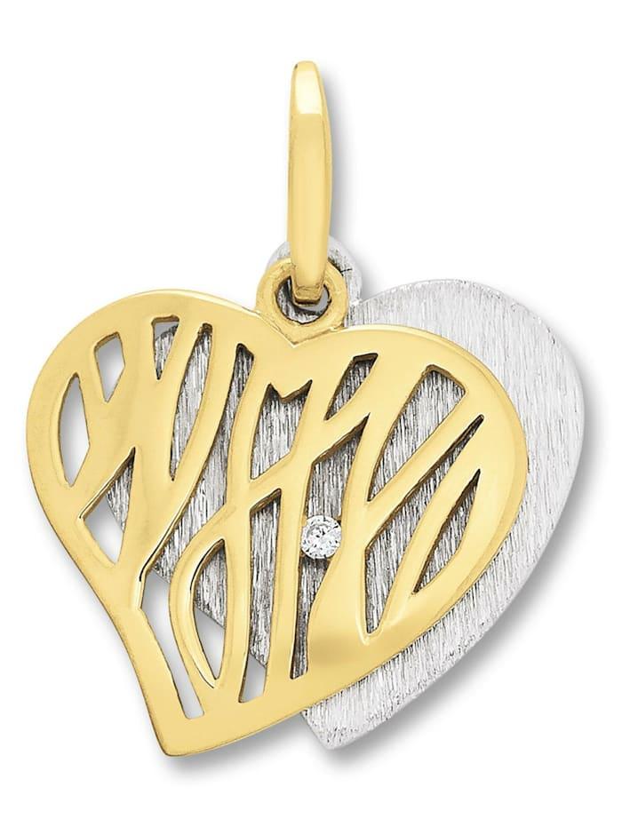 one element - Damen Schmuck Herz Anhänger aus 925 Silber Zirkonia  silber