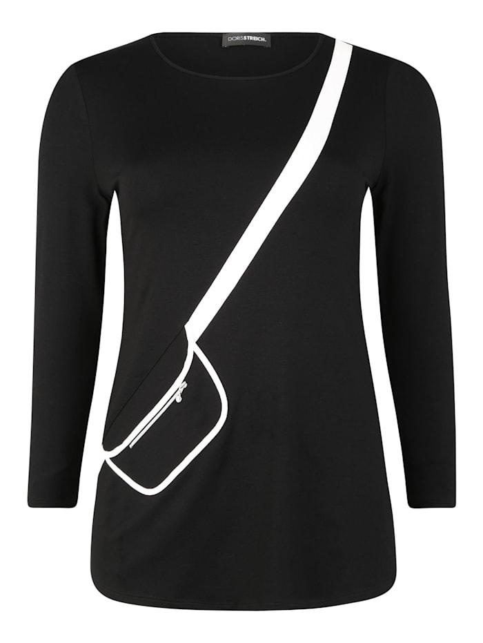 doris streich - Longsleeve mit aufgesetzter Tasche  schwarz/weiß