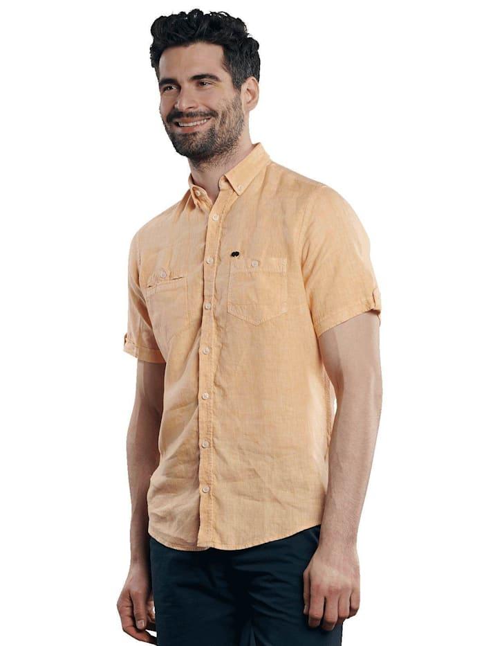 engbers - Kurzarm-Hemd aus Leinen  Sonnenorange